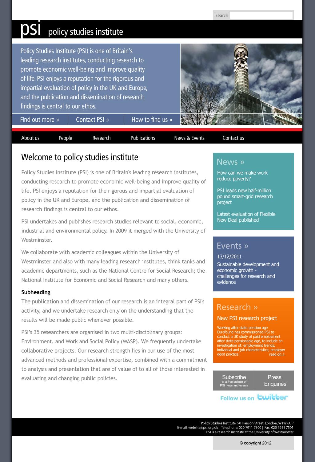 PSI homepage